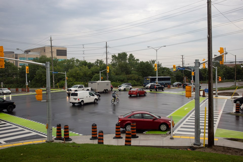 A new protected intersection for cyclists opened Monday at Gordon Street and Stone Road. Kenneth Armstrong/GuelphToday