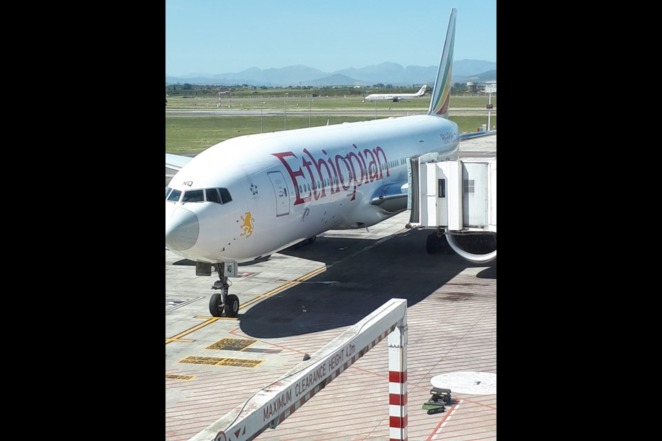 Waiting for Ethiopian Airlines to board in Cape Town. Photo by Philip Maher