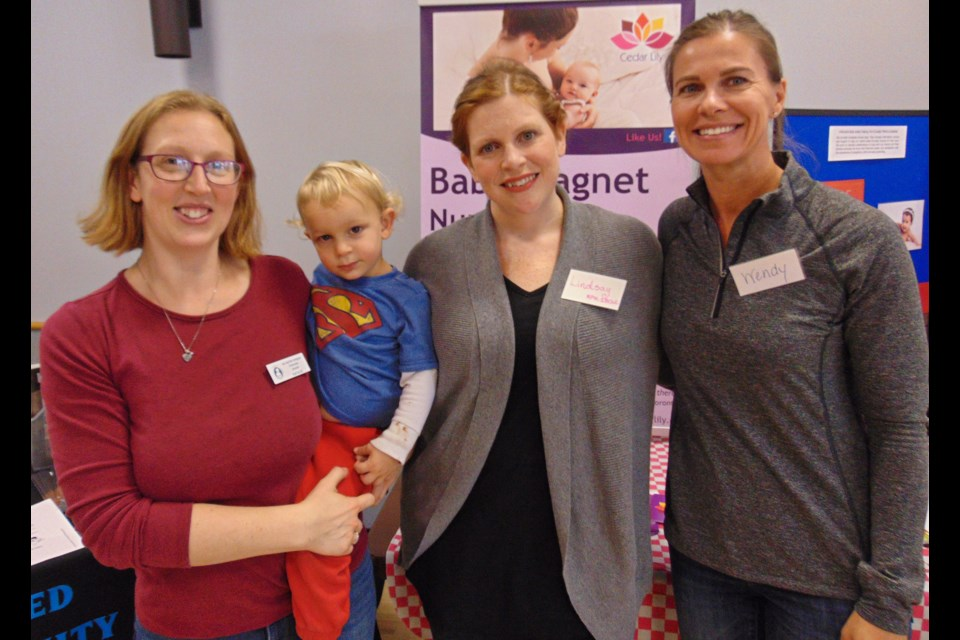 Natalie Gohl with her son Henry, Lindsay Pravato, middle, and Wendy Lahey. Barbara Geernaert for GuelphToday