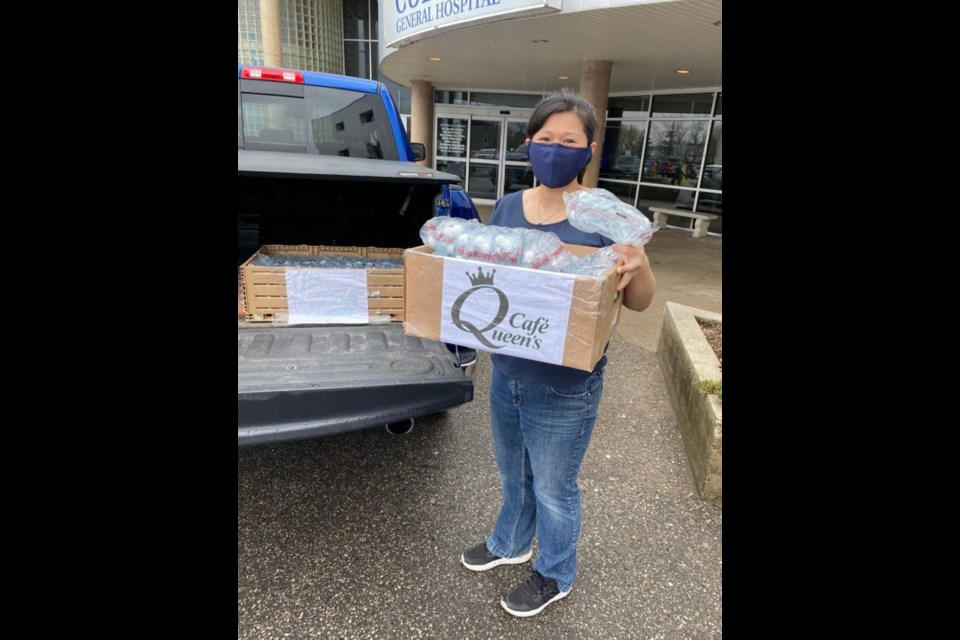 Tammy Hsieh delivers the protective goggles to Guelph General Hospital on Saturday. Submitted photo