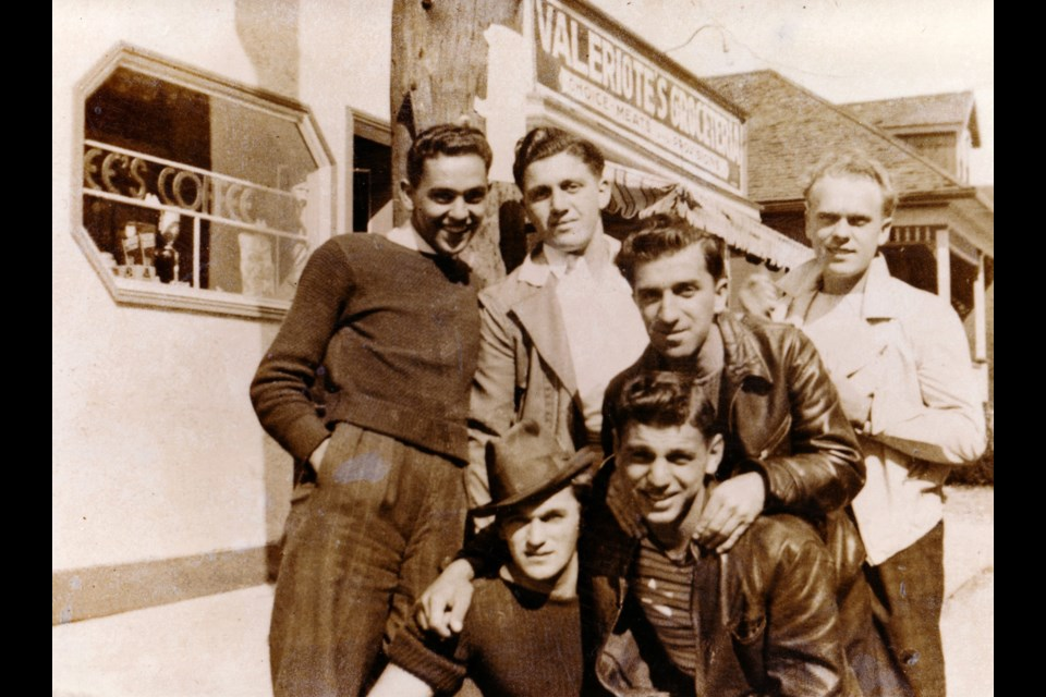 Young men from the Ward pose in front of Dee's Coffee Bar:  Joe Valeriote, from top left, Cuts Ferraro, Mike (Bones) Woronka, Ralph Sorbara. Supplied photo