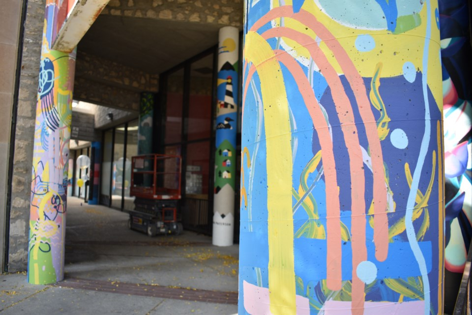 Artists from the Necessary Arts Collective came together and painted murals along the pillars in The Walkway in downtown Guelph. Taylor Pipe for GuelphToday