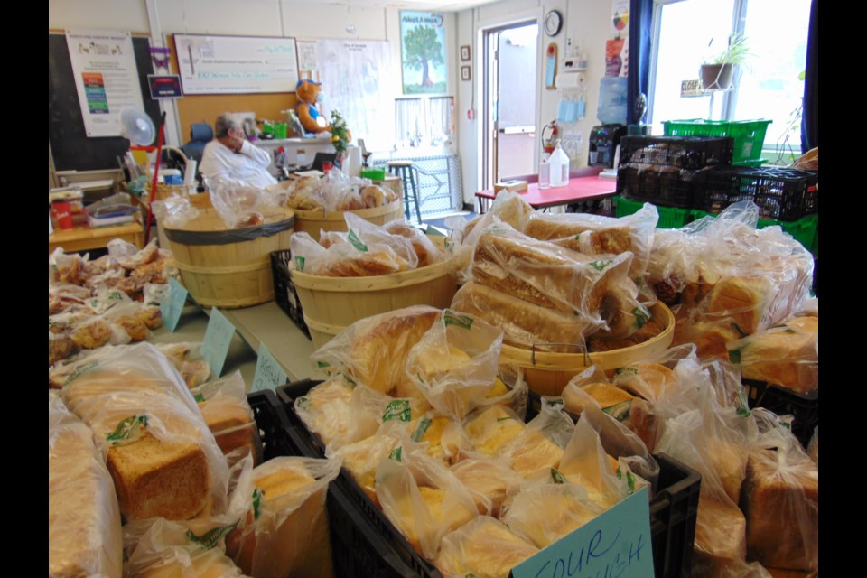 Selection of items available during last Sunday's Harvey's Free Bread Market.
