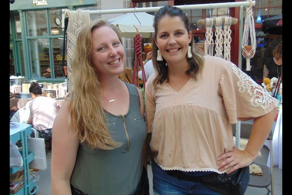 Kayla McQueen and macrame artisan Megan Anne at the Guelph Handmade Market. Barbara Geernaert for GuelphToday
