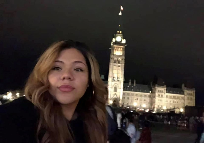 Monica Izaguirre-Canales in front of Parliament in Ottawa in 2019.