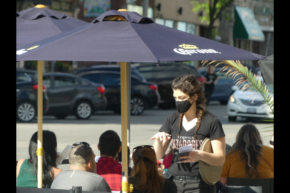 McCabe's patio was one of many busy on the weekend as patios were allowed to reopen. Maxine Betteridge-Moes for GuelphToday