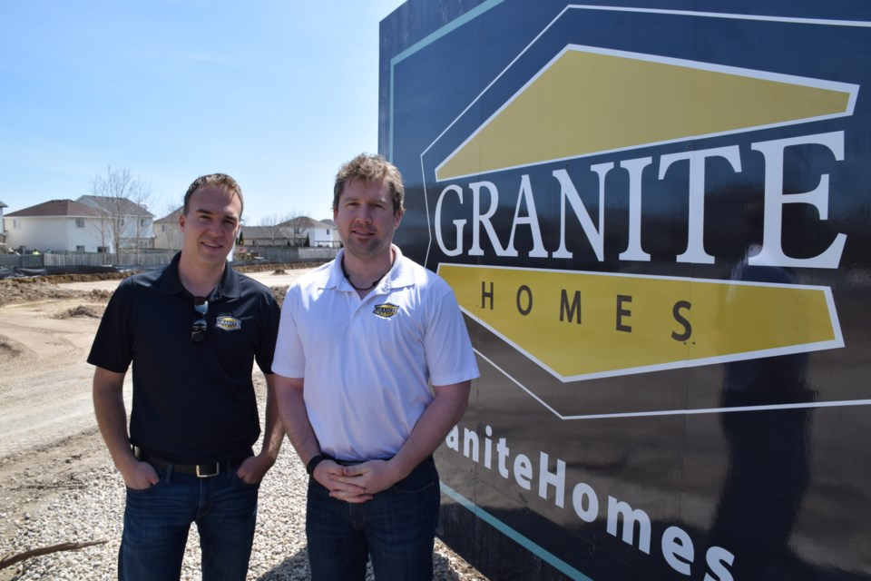 Mike Taylor, left, and Josh Bellamy of Granite Homes official launched Heritage Lane in Fergus on Saturday.