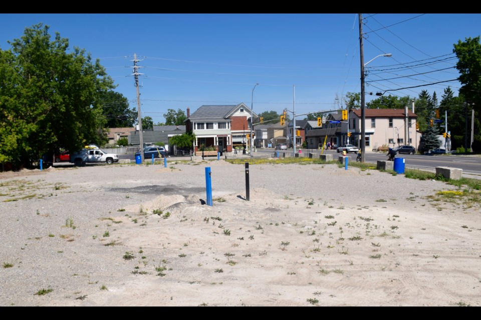 This contaminated site at Woolwich Street and London Road, a former gas station, has sat vacant for over 20 years. (Rob O'Flanagan/GuelphToday)