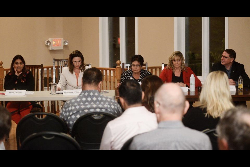 The five Ward 6 candidates attended a town hall meeting Monday night: Anshu Khurana, from left, Dominique O'Rourke, Usha Arora, Stacy Cooper and Mark MacKinnon. Tony Saxon/GuelphToday
