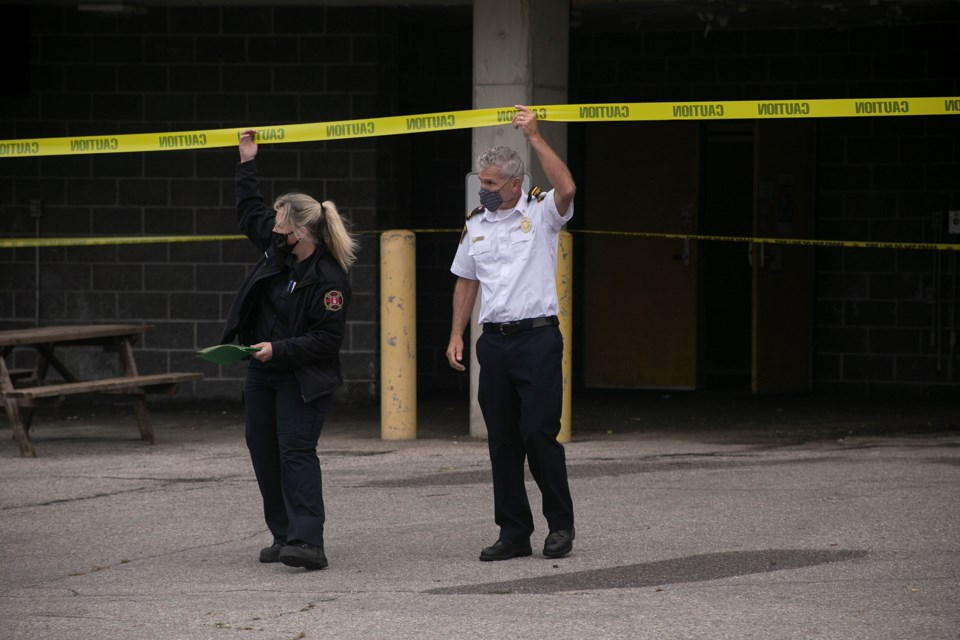 U of G Fire Safety and a fire prevention officer from Guelph Fire Department leave the scene of an early morning explosion Thursday at Gryphon Center Arena on the University of Guelph Campus. Kenneth Armstrong/GuelphToday
