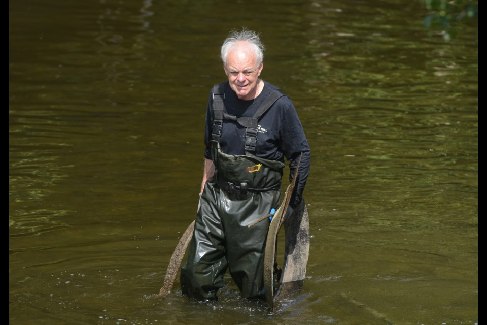 John Sleeman helps clean up the Speed River behind his Spring Mill Distillery Monday. Tony Saxon/GuelphToday