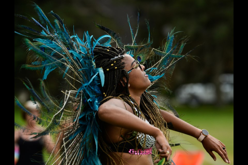 Kayla 'Kween' Gerber leads a soca dance at the Guelph Black Heritage Society's Emancipation Day Jamboree Saturday at Exhibition Park. Tony Saxon/GuelphToday