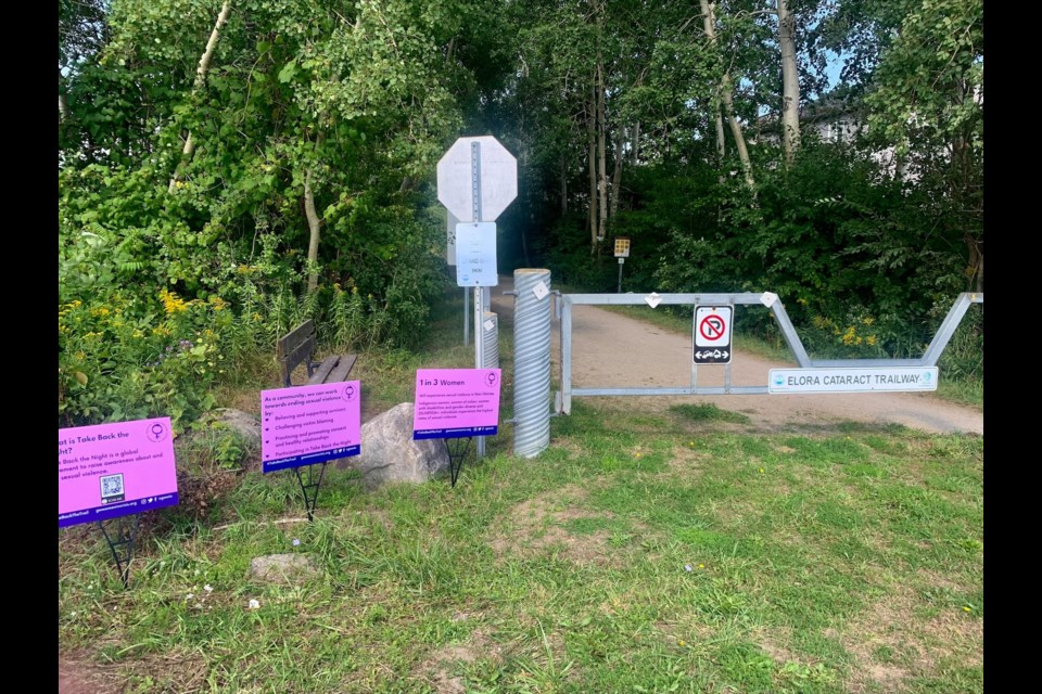 Signs from the campaign spotted at the Elora Cataract Trailway in Fergus.