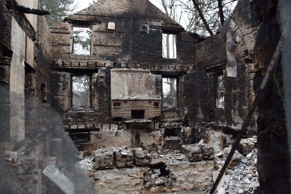 The gutted interior of historic farmhouse on Township Road 3. Rob O'Flanagan/GuelphToday