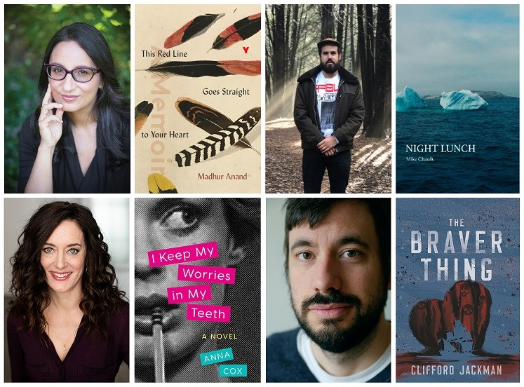 2.Authors featured at the EMWF (clockwise top left) Madhur Anand, Mike Chaulk, Anna Cox (photo, Joanna Degeneres) and Clifford Jackman (photo, Antoine Tanguay)
