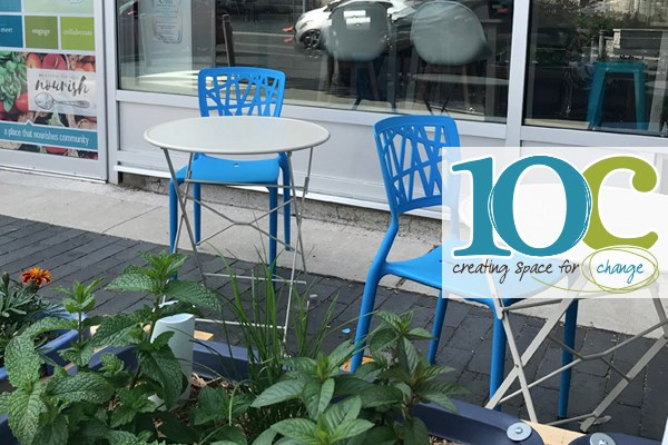 10C Shared Space patio on Carden Street in the summer, alive with urban food growing