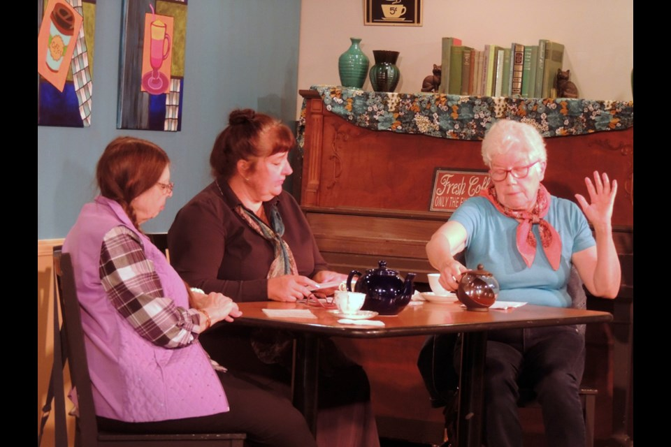 Cafe Conversations. Vignettes based on Marion Reidel's book of short stories. Pre-recorded online viewings. Image provided by Guelph Littel Theatre