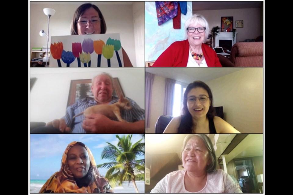 Zoom interviews with Community Consultants Maggie Perquin (top L), Kathy Smith (top R), Richard Claus (mid left), Rana El Kadi (mid R) Suad Badri (bottom L) Wilamina McGrimmond