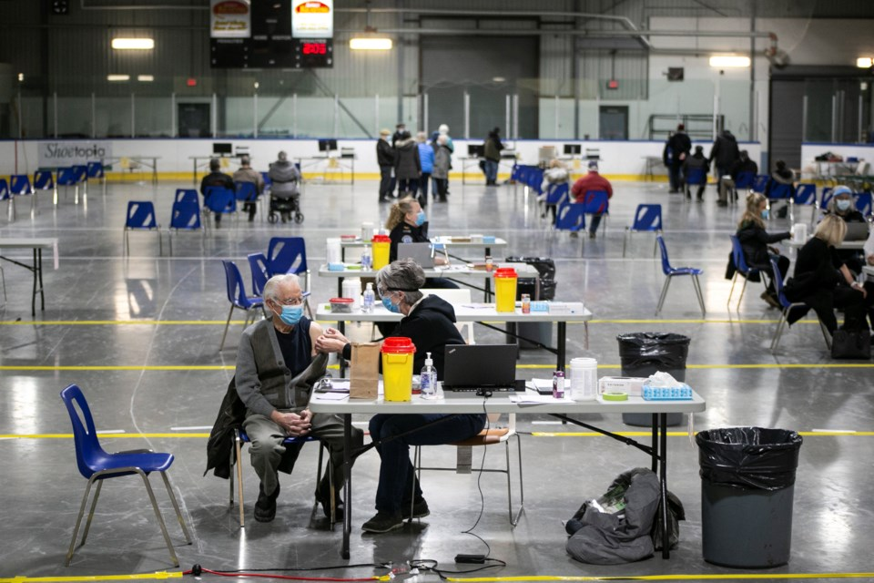 A concrete pad at the Centre Wellington Sportsplex has been converted to a mass vaccination clinic that will eventually be scaled up to provide 5,000 vaccinations a day. Kenneth Armstrong/GuelphToday