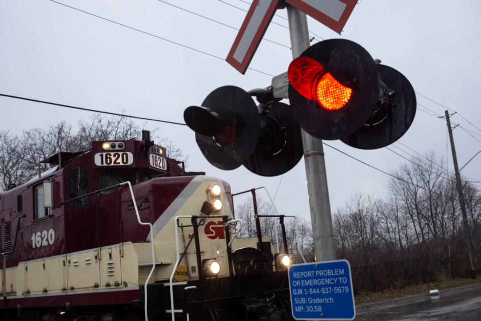 A new 12-inch LED signal installed at a level crossing in the Ward. The new signals are bigger and brighter than the previous 8-inch incandescent ones they replace. Kenneth Armstrong/GuelphToday