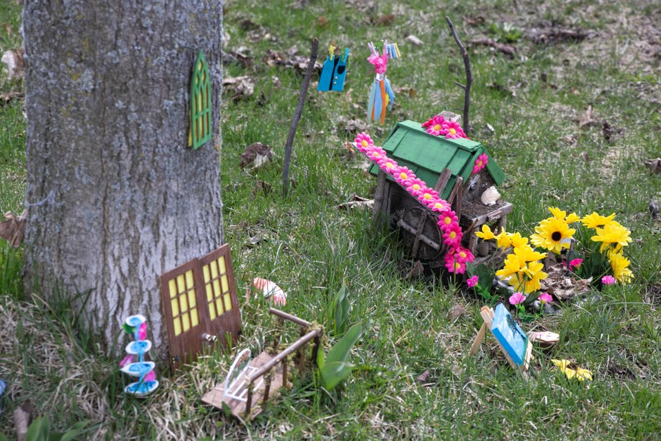 The fairy houses of Princess Periwinkle and Jarvis Appleton take up less than a square metre of the front  yard in a human-size south end home in Guelph. Kenneth Armstrong/GuelphToday