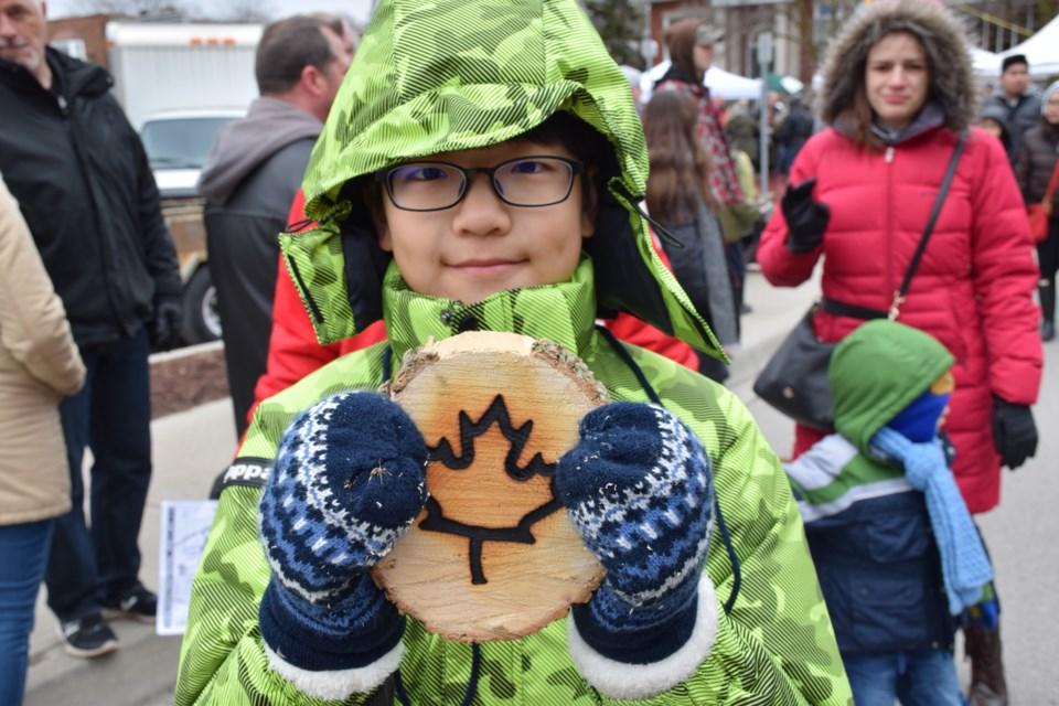 Juwon Jeong, 11, gets a souvenir. Rob O'Flanagan/GuelphToday