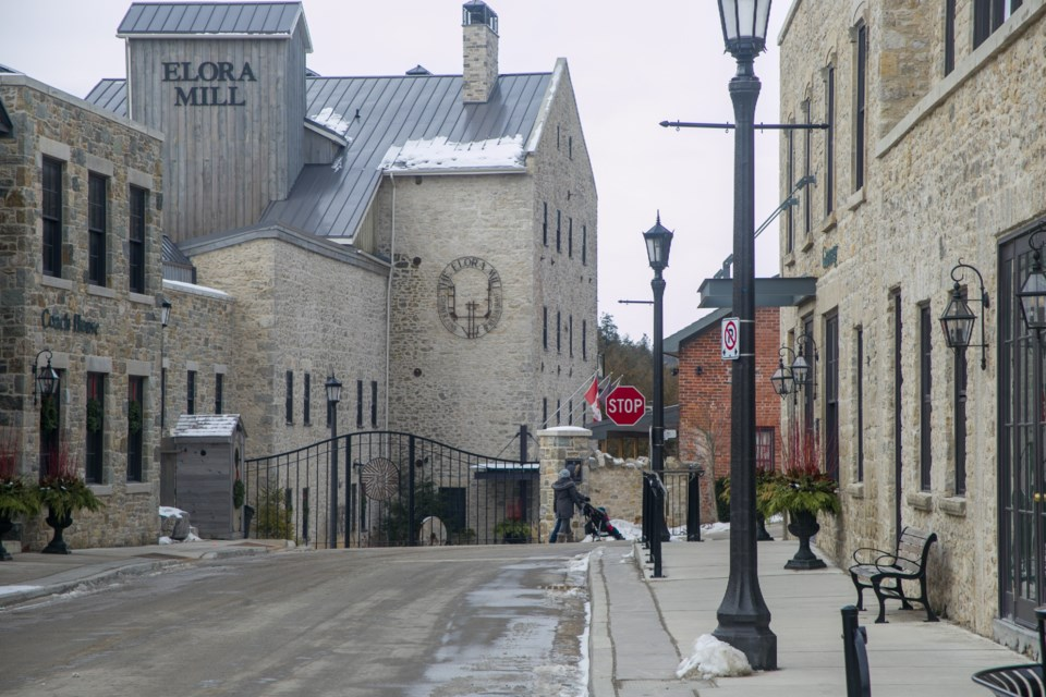 The Elora Mill seen at the end of West Mill Street in Elora. Many of the businesses in Elora rely on tourism, which is effectively gone during lockdown. Kenneth Armstrong/GuelphToday