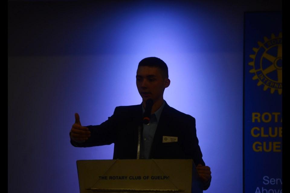 Noah Irvine speaks at the Rotary Club of Guelph Friday, July 27, 2018. Tony Saxon/GuelphToday