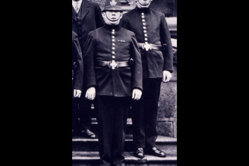 This 1928 photo shows Const. John 'Tail Light' Teevens in his Guelph police uniform. Courtesy of Guelph Museum (2009.32.2437)