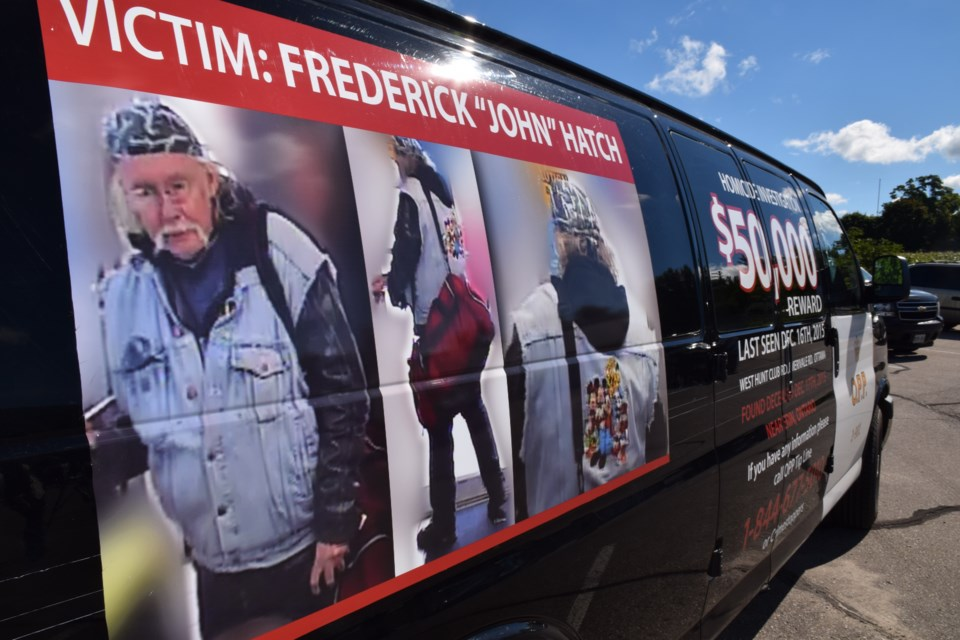 "Frederick ""John"" Hatch, pictured on the side of an OPP van wearing the clothes he died in. (Rob O'Flanagan/GuelphToday)"