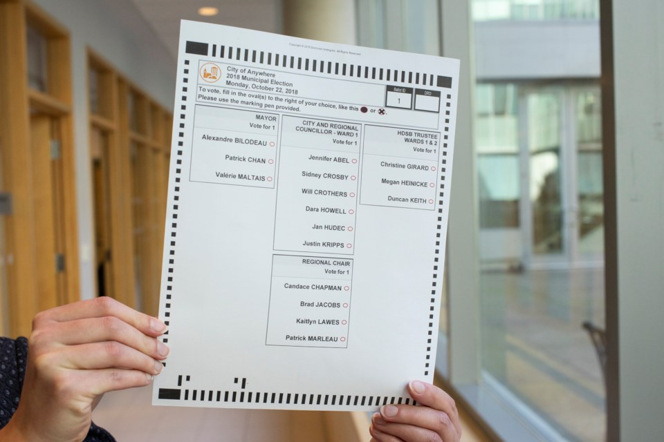 Brad Jacobs, a household word here in Sault Ste. Marie, was listed as a municipal election candidate on this mock ballot used in 2018 to test optical scan vote tabulators used by the City of Guelph. The mock ballot also lists Sidney Crosby as a Ward 1 candidate. The tabulators were built by Dominion Voting Systems, which is suing Fox News for $1.6 billion  for falsely claiming it used its voting machines to rig the 2020 U.S. election. Kenneth Armstrong/GuelphToday