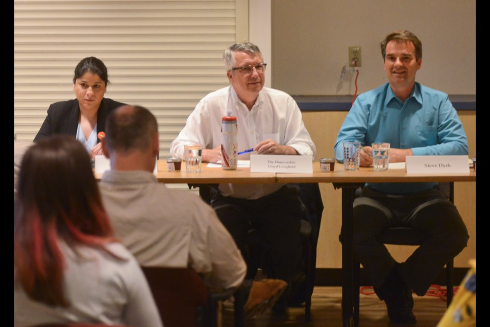 The NDP's Aisha Jahangir, from left, Liberal MP Lloyd Longfield and Green Party candidate Steve Dyck attend an all-candidates forum on food security Tuesday at the Guelph Community Health Centre. Tony Saxon/GuelphToday
