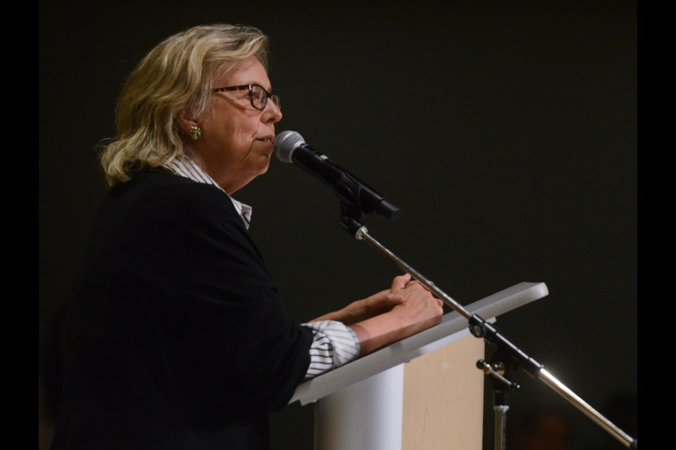 National Green Party leader Elizabeth May speaks at the Green Party Community Matters event at the University of Guelph on Monday night. Tony Saxon/GuelphToday