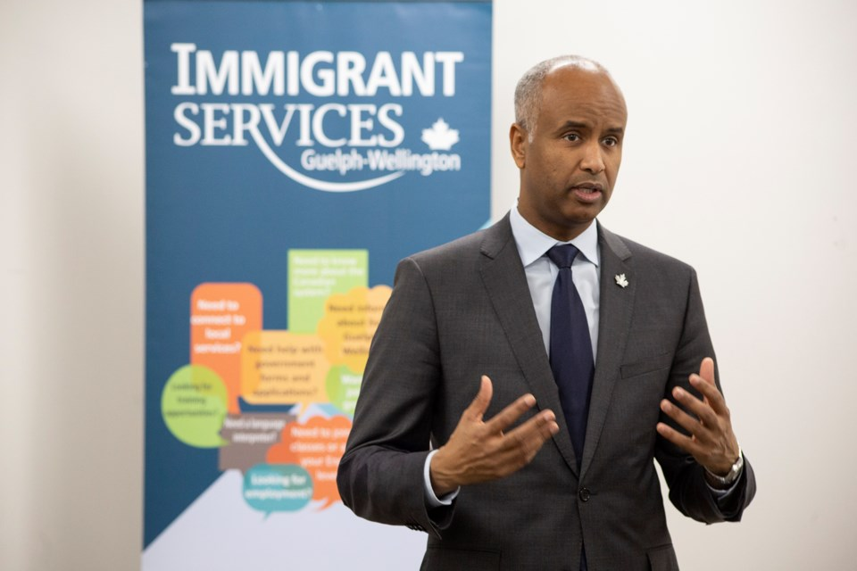 Canada's Immigration minister Ahmed Hussen speaks to community stakeholders at a meet-and-greet held Monday at Immigrant Services Guelph-Wellington. Kenneth Armstrong/GuelphToday