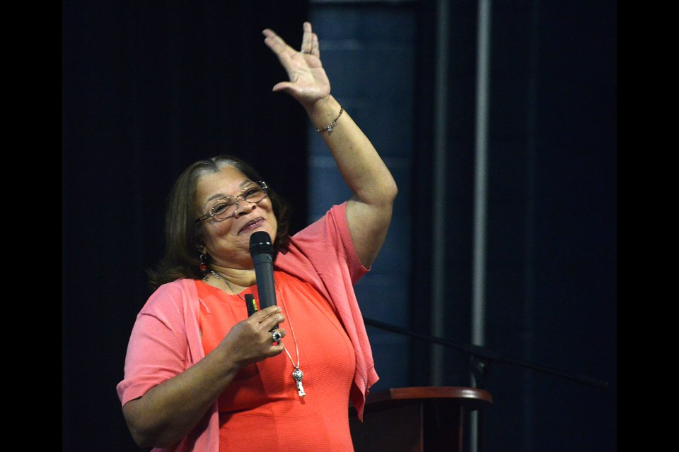 Alveda King, niece of Dr. Martin Luther King, proves to Bishop Macdonell Catholic High School students that she is a Trekkie during her presentation Thursday, June 2, 2016. Tony Saxon/GuelphToday