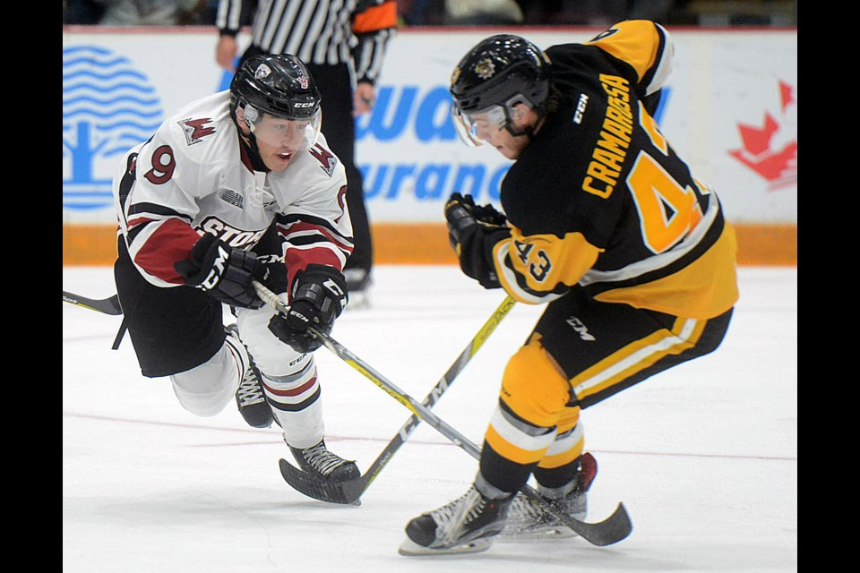 The Guelph Storm's Barret Kirwin, left, pokes for the puck in the feet of the Hamilton Bulldogs' Michael Cramarossa Friday, Sept. 30, 2016, at the Sleeman Centre. Tony Saxon/GuelphToday