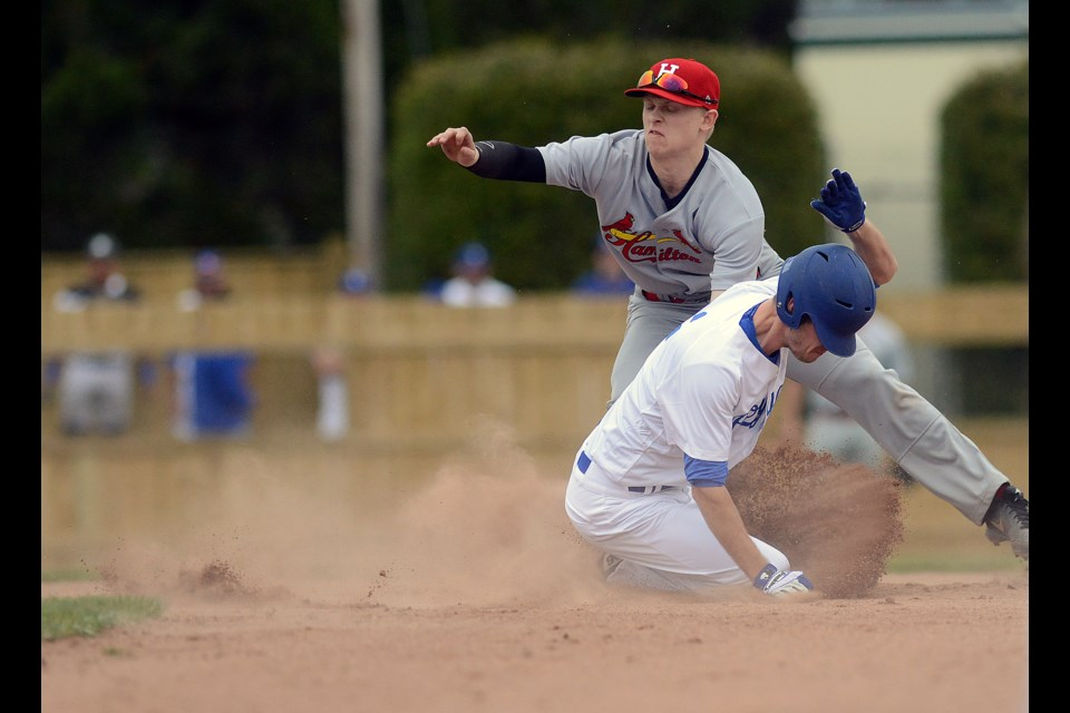 Trevor Nyp of the Guelph Royals steals second base against the Hamilton Cardinals at Hastings Stadium Saturday, May 7, 2016. Tony Saxon/GuelphToday