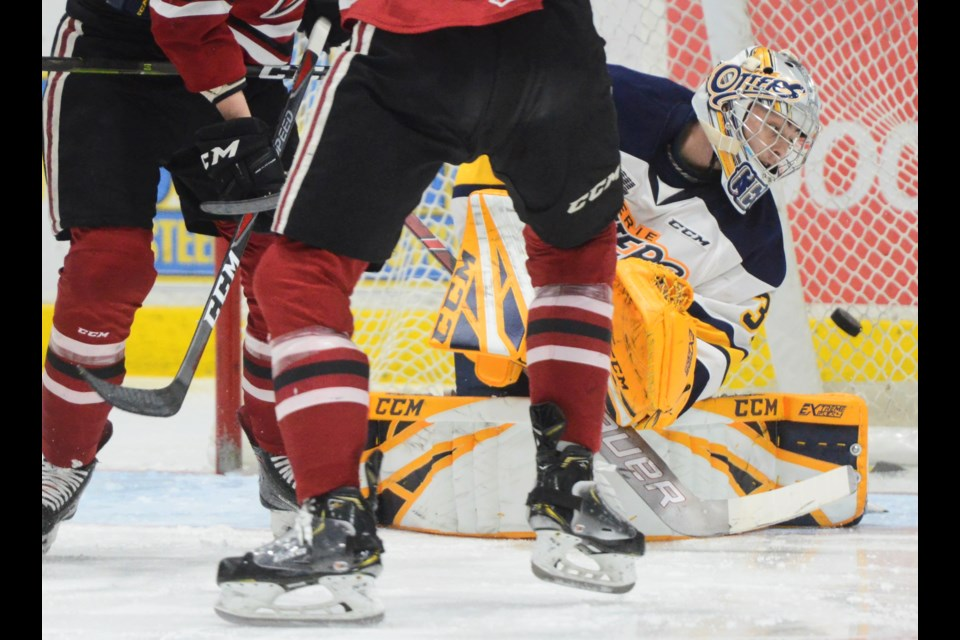 Erie Otters goaltender Cole Ceci watches as a tipped shot goes past his glove and into the net Friday at the Sleeman Centre. Tony Saxon/GuelphToday