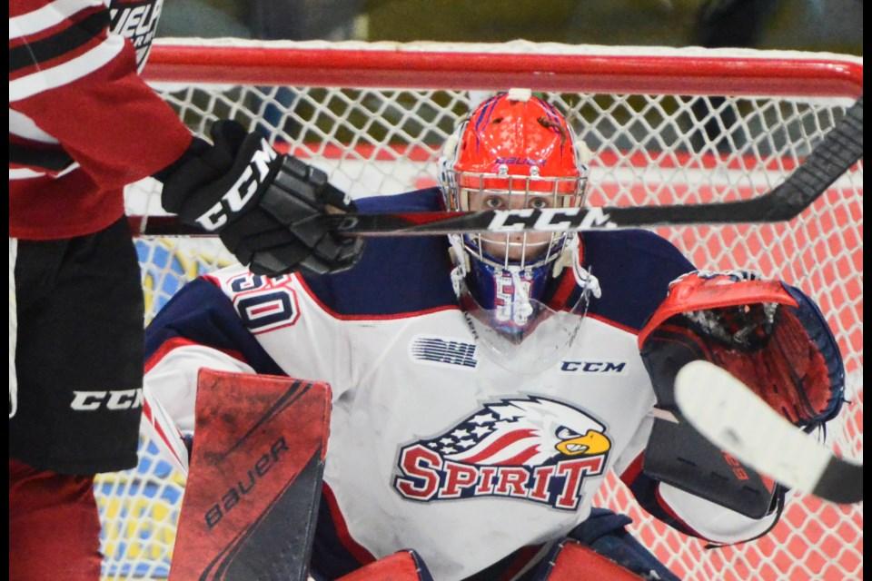Saginaw Spirit goaltender Ivan Prosvetov waits for an incoming shot Friday at the Sleeman Centre. Tony Saxon/GuelphToday