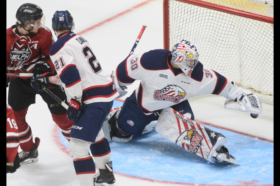 Saginaw Spirit goaltender Tristan Lennox reaches back in vain as the puck goes into the Saginaw net Monday at the Sleeman Centre. Tony Saxon/GuelphToday