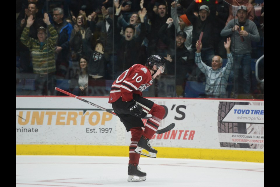 The Guelph Storm's MacKenzie Entwistle celebrates the second of his two goals in the third period Monday at the Sleeman Centre. Tony Saxon/GuelphToday