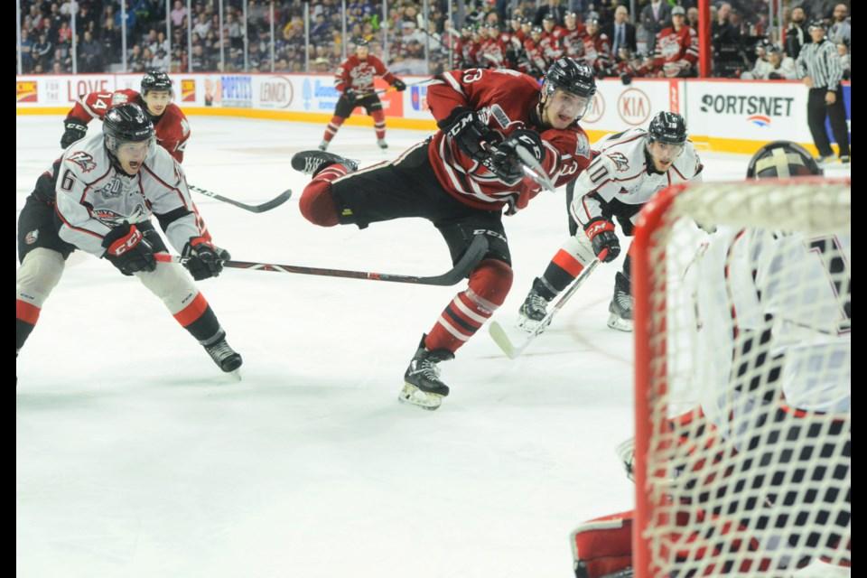Alexey Toropchenko lets a shot go on Rouyn-Noranda goaltender Samuel Harvey. Tony Saxon/GuelphToday
