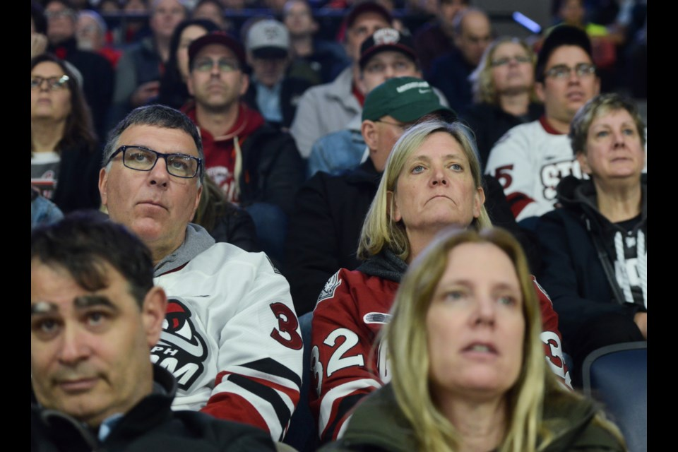 Greg and Nancy Popovich watch their son play in Halifax at the Memorial Cup. Tony Saxon/GuelphToday