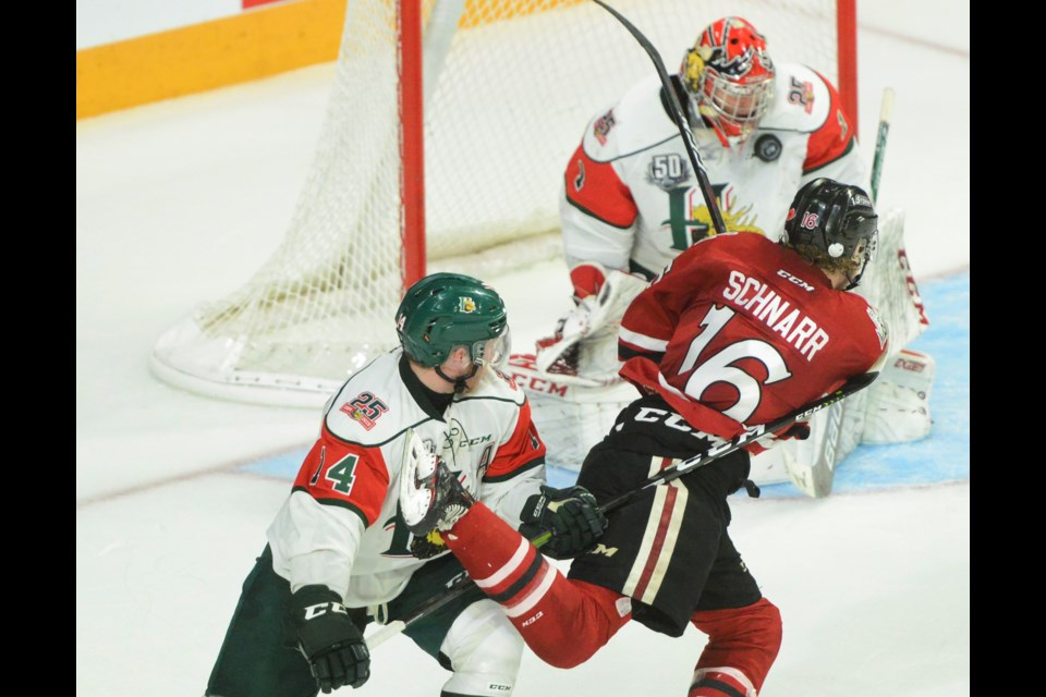 Guelph's Nate Schnarr spins and shoots on Halifax Mooseheads' goaltender Alexis Gravel. Tony Saxon/GuelphToday