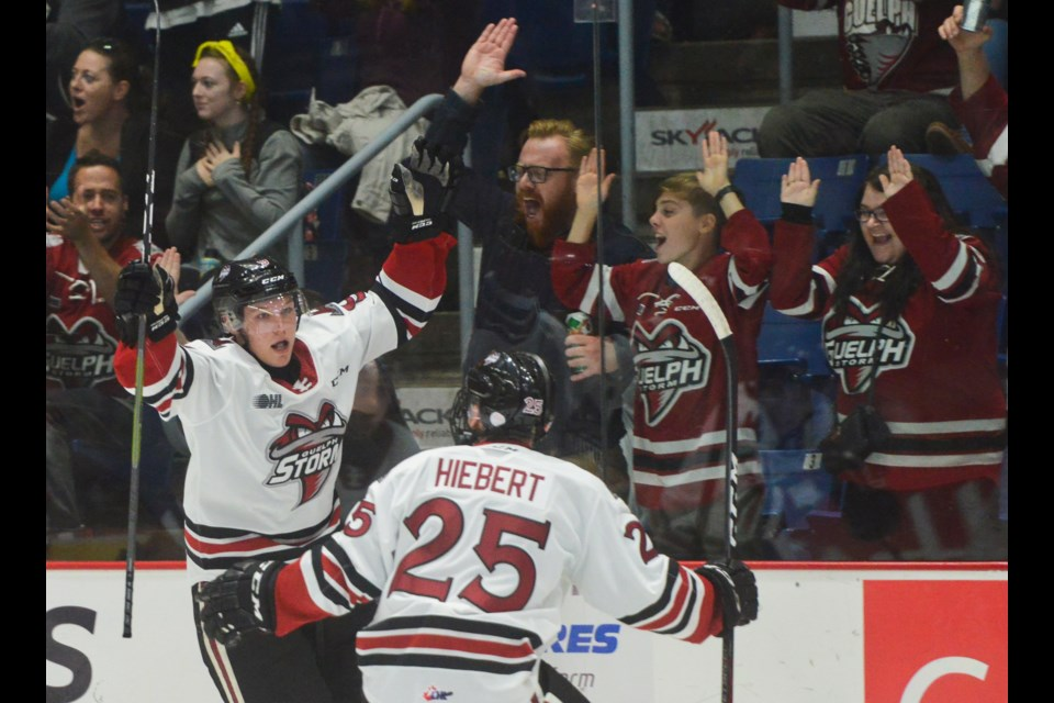 Danny Zhilkin celebrates his first OHL game in the Guelph Storm's season opener against Ottawa Friday at the Sleeman Centre. Tony Saxon/GuelphToday.com