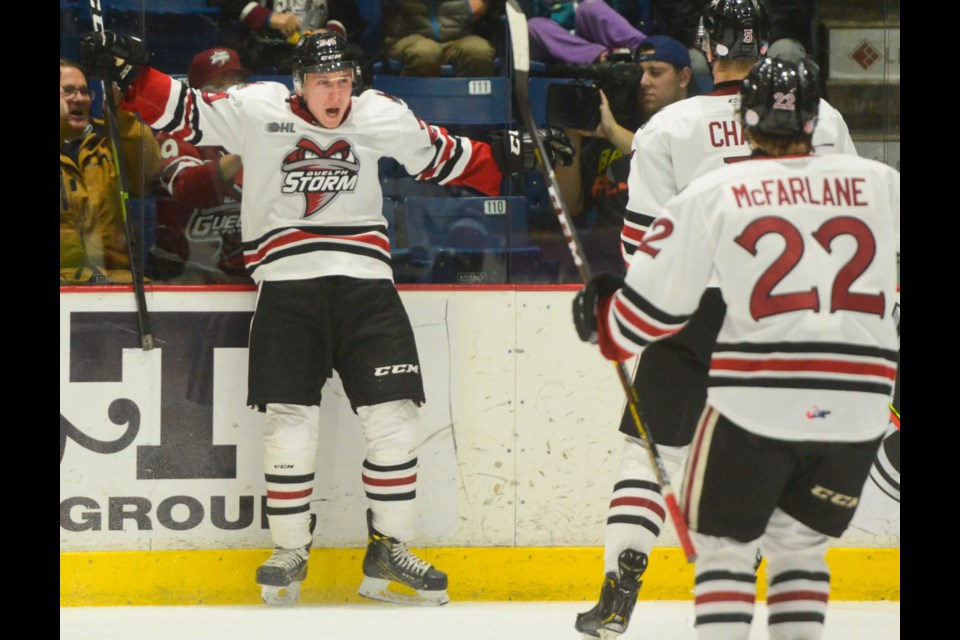 Matt Papais celebrates his first OHL goal against the Erie Otters Friday night at the Sleeman Centre. Tony Saxon/GuelphToday