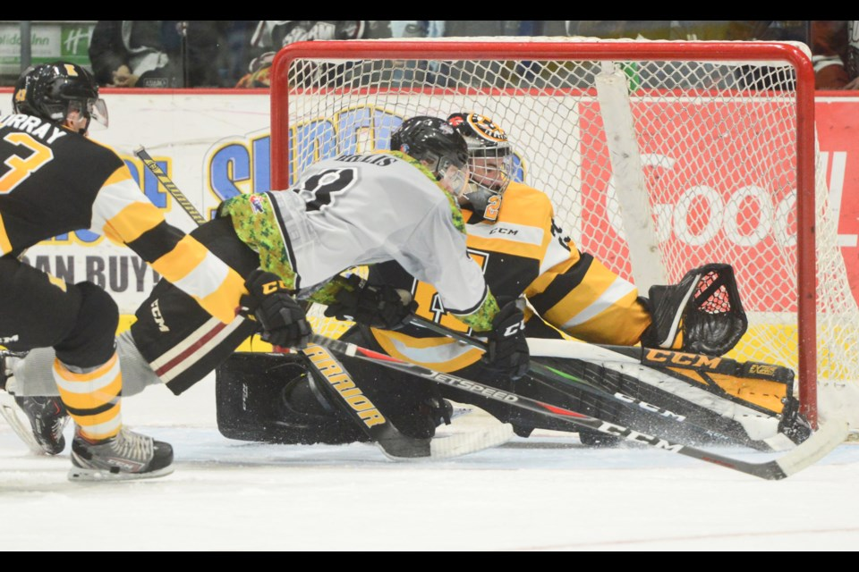 The Guelph Storm's Cam Hillis dives in an attempt to slip the puck past Kingston Frontenacs goaltender Ryan Dugas Saturday at the Sleeman Centre. Tony Saxon/GuelphToday