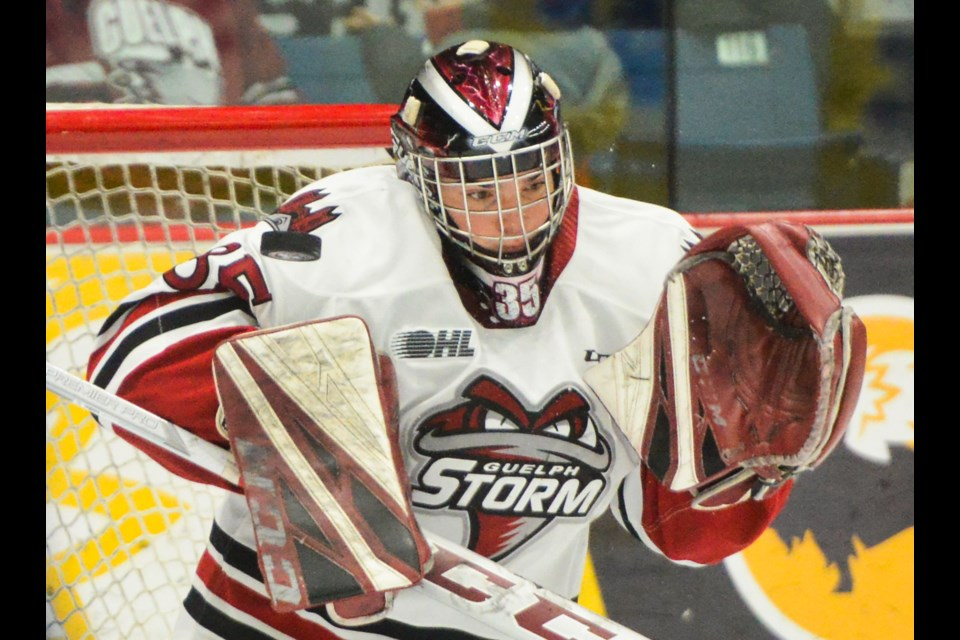 Guelph Storm goaltender Nico Daws takes a shot up high against the Saginaw Spirit on Saturday. Tony Saxon/GuelphToday