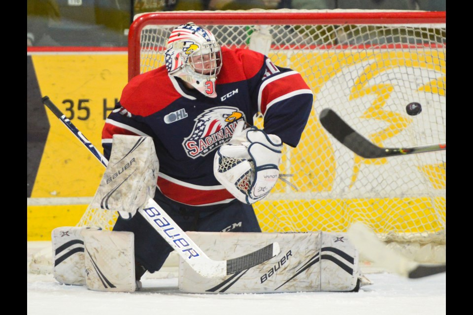 Saginaw Spirit goaltender Tristan Lennox is beaten by a seeing-eye Pavel Gogolev wrist shot Friday night at the Sleeman Centre. Tony Saxon/GuelphToday