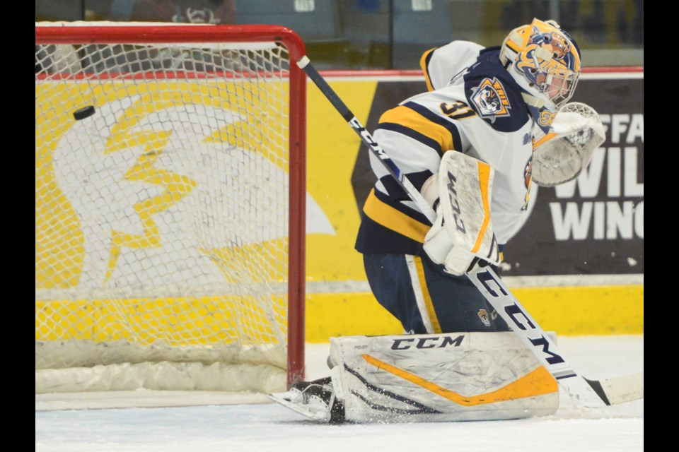 Erie Otters goaltender Aidan Campbell gets beaten high by a Pavel Gogolev shot Wednesday night at the Sleeman Centre. Tony Saxon/GuelphToday